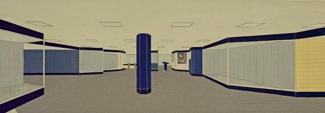 """Hamburg, Haltestelle """"Wandsbeker Chaussee"""", Schalterhalle, Entwurfscollage von Fritz Trautwein, 1960 (Bestand: Hamburgisches Architekturarchiv)"""