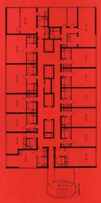 Schöner Wohnen? Grundriss, 4. Etage, Herkuleshaus, Köln (Archiv Neufert)