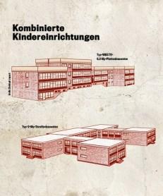 Grafisch aufbereitete Bauweise (unter Verwendung der WBS 70) der Kombinierten Kindereinrichtungen wie z. B. 1980 in der Werner-Petzold-Straße in Gera-Lusan (Grafik: Christoph Liepach)