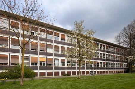 Stadthaus Krefeld, Fassade (ehemals Verwaltungsgebäude Verseidag, Egon Eiermann, 1951-53) (Foto: LVR-ADR, Silvia Margit Wolf, 2016)