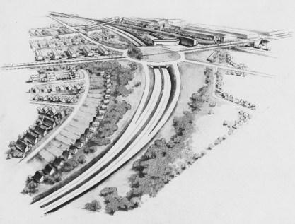 """Roland Rainer: Wettbewerbsbeitrag """"Hamburger Reichsautobahn"""" (1. Preis), 1936 (Bild: Architekturzentrum Wien, Sammlung)"""