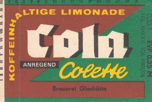 Cola Colette, Brauerei Glashütte (Bild: historisches Etikett)
