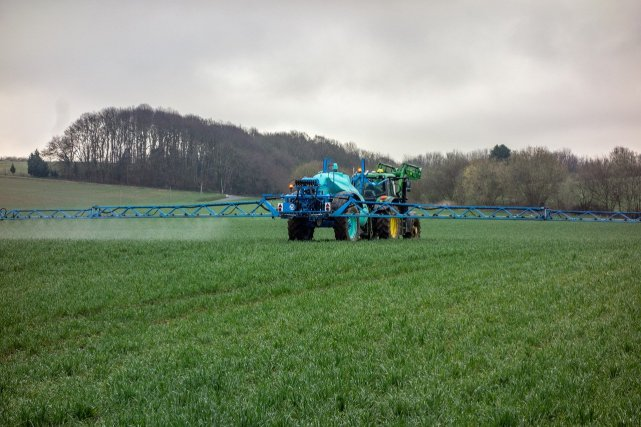 Spraying pesticides in agriculture