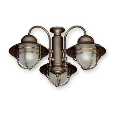 362 Nautical Styled Outdoor Ceiling Fan Light Kit   3 Finish Choices         FL362AZ Nautical Outdoor Fan Light   Antique Bronze