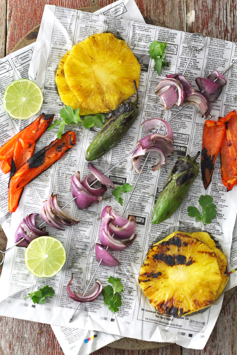 Grilled vegetables and pineapple