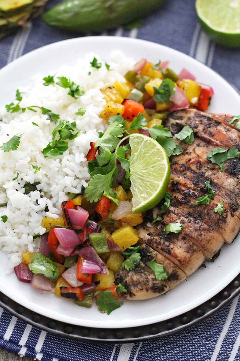 Jamaican jerk chicken with pineapple salsa