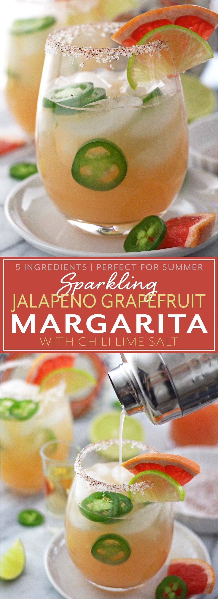 Not too sweet, not too spicy. This Jalapeño Grapefruit Margarita is made just right with only 5 ingredients and lots of tequila. Perfect for summer days!
