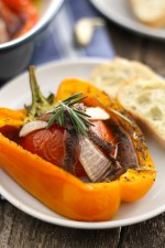 Tomato Garlic Stuffed Peppers are mouthwatering and packed with tomato, garlic, onion and lots of herbs and topped with sardines!