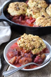 Strawberry Rhubard Cobbler with Pistachio Biscuits