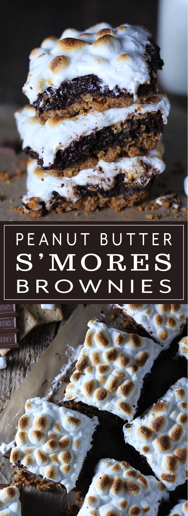Graham cracker crust covered with fudgy brownies swirled with peanut butter and topped with melted marshmallows. Nothing says summer like s'mores over the campfire and these Peanut Butter S'mores Brownies take summer to the next level!