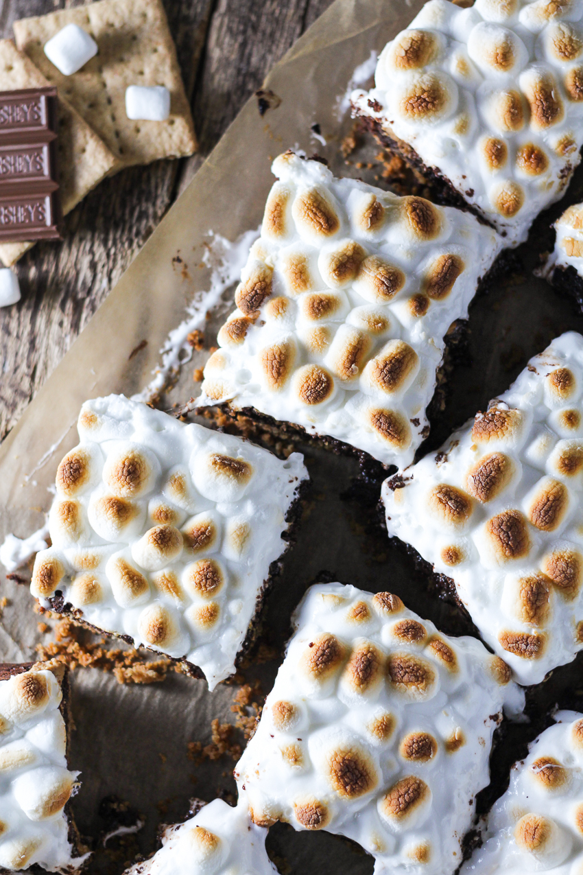 pan of peanut butter s'mores brownies