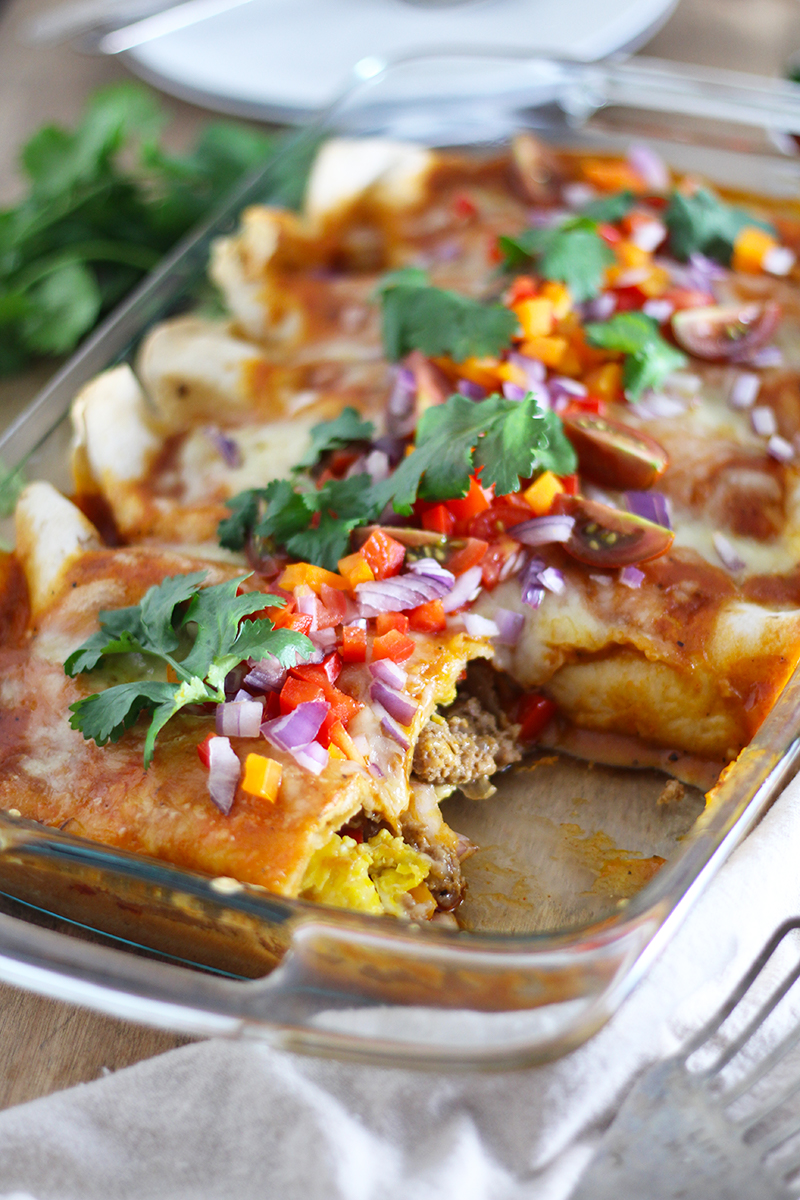 Cheesy Sausage and Egg Breakfast Enchiladas