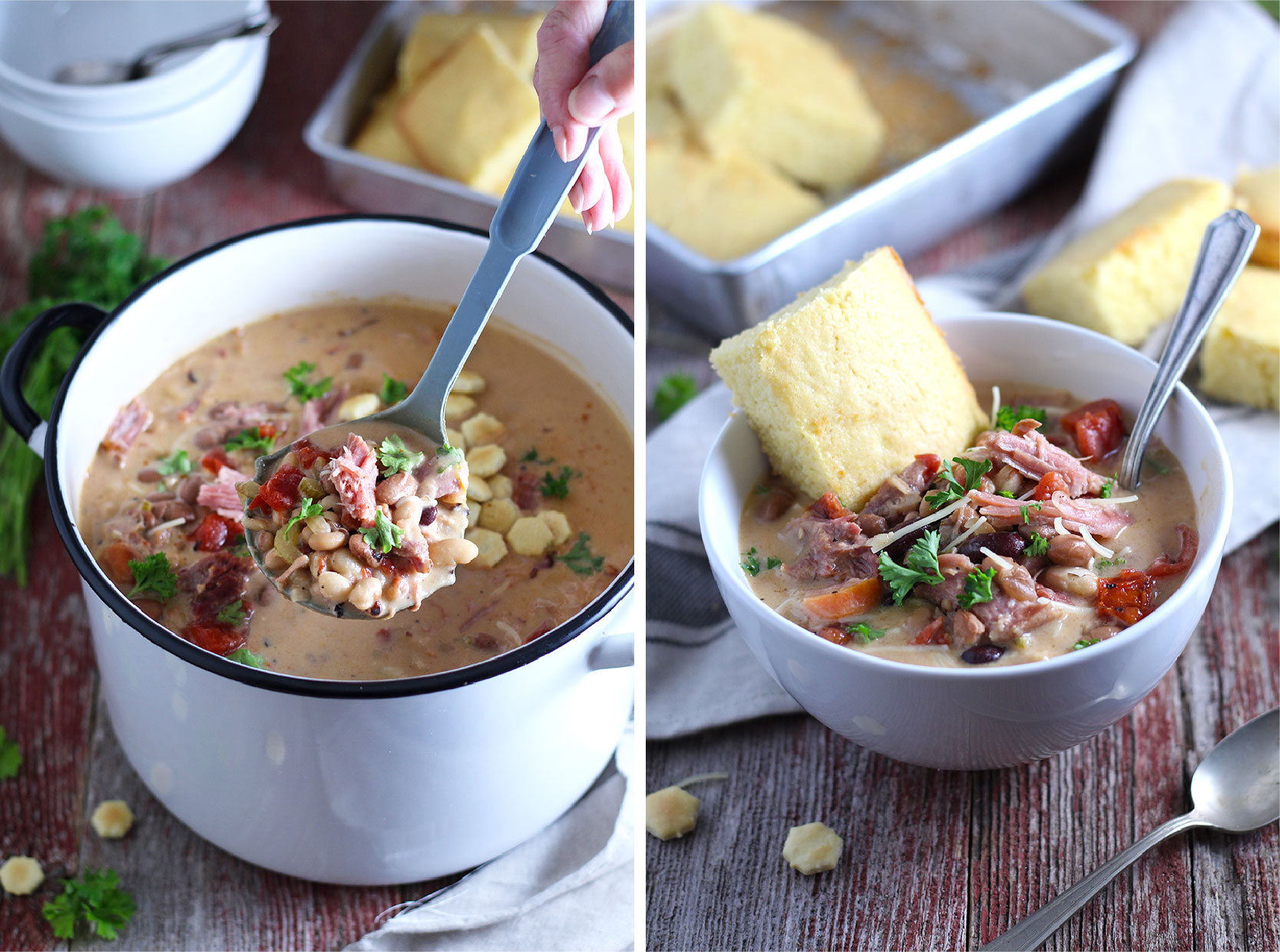 Easy-to-make, hearty soup packed with smoked ham and 6 kinds of beans. One of my favorite cold weather comfort foods.