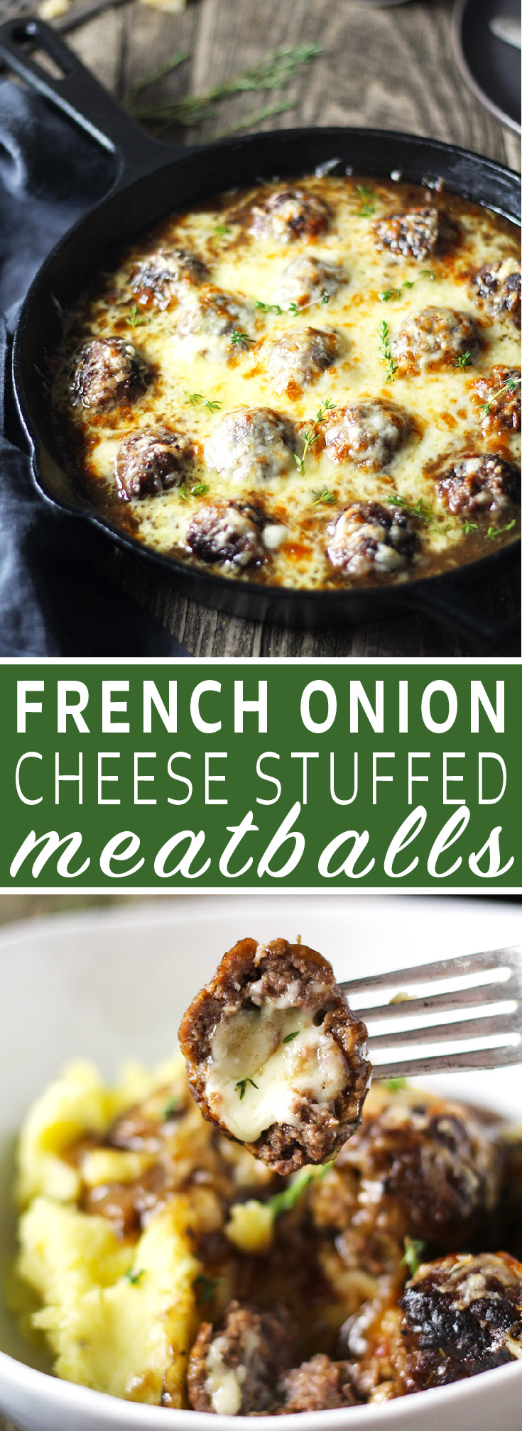 One skillet French Onion Cheese Stuffed Meatballs are the perfect alternative to soup! Meatballs stuffed with Swiss cheese and smothered in perfectly caramelized onion and red wine gravy.