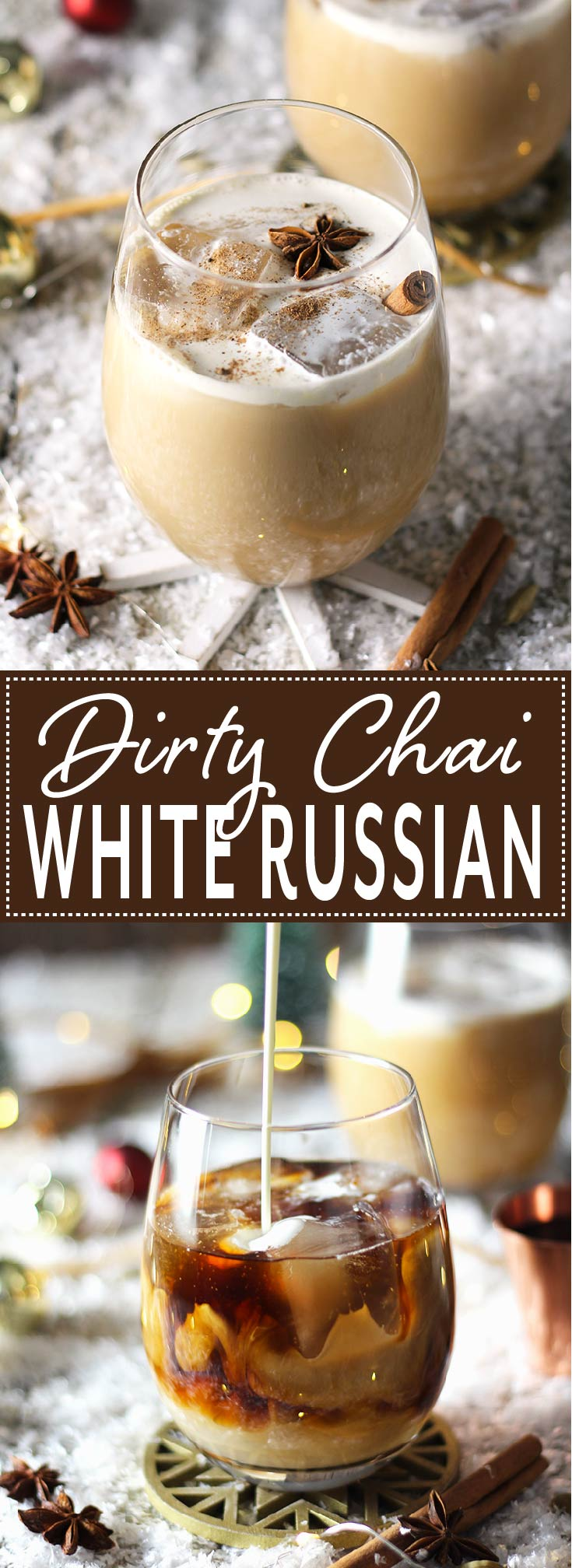 Classic White Russian spiced up with homemade coffee and chai syrup. The ultimate holiday drink that everyone will love.