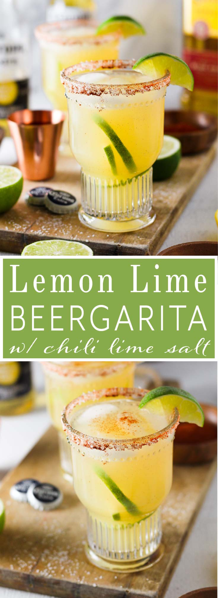 Crisp and refreshing margarita that is perfectly balanced with fresh lemon and lime juice, natural sweetener and tequila then topped off with Corona Extra and served in a glass with a chili-lime salt rim.