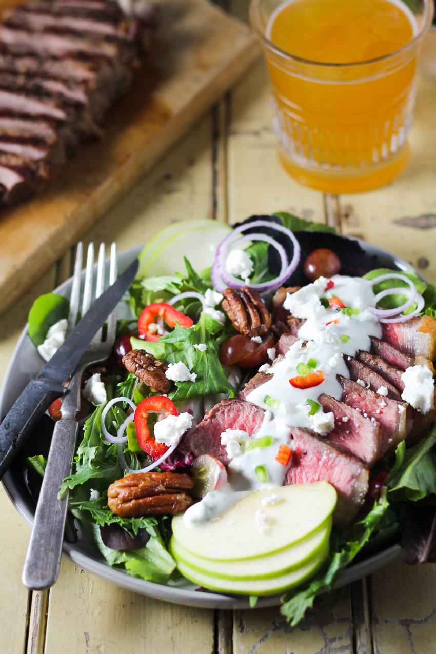 steak salad with goat cheese dressing
