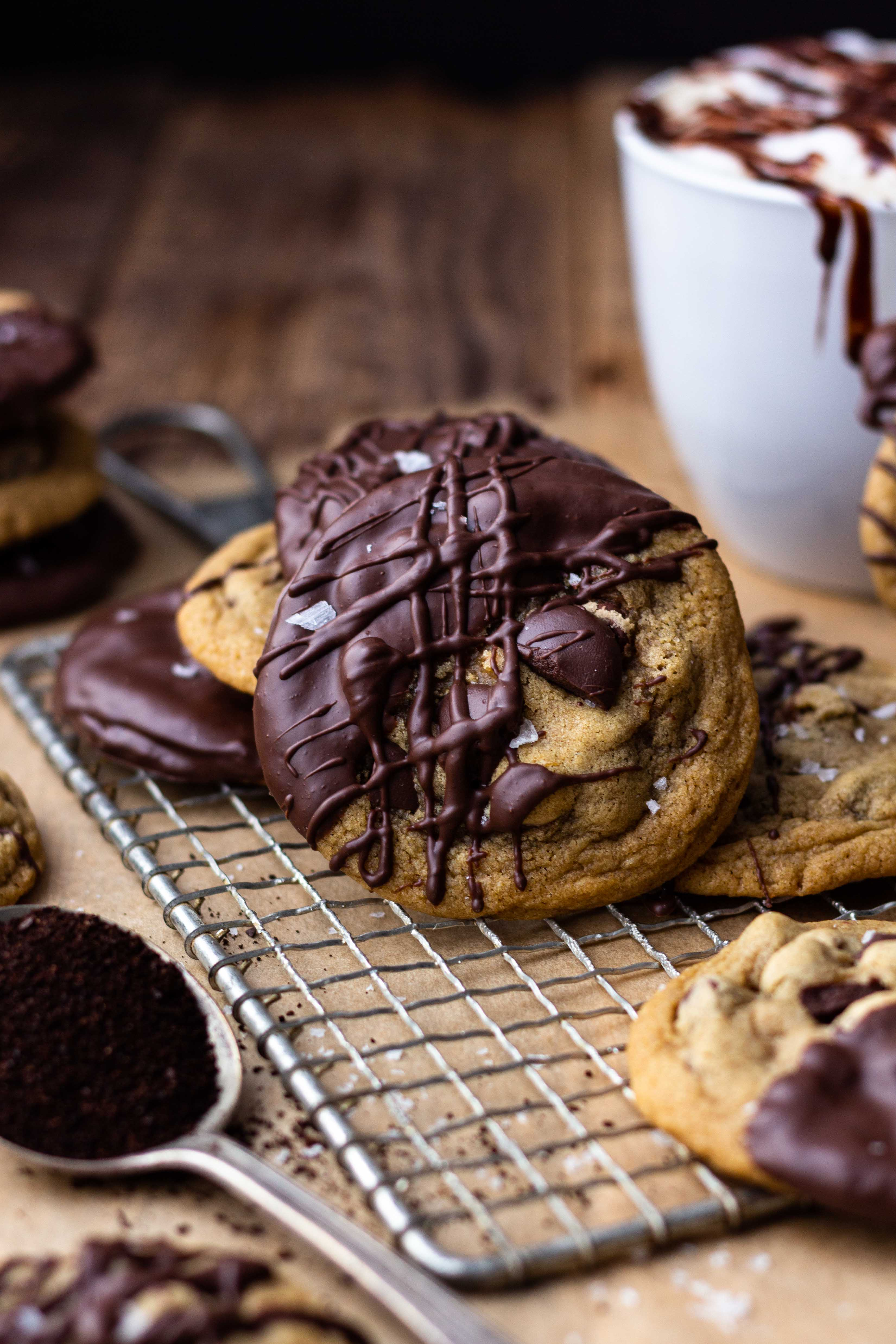 chocolate mocha cookies drizzled with chocolate