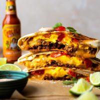 Cheesy Breakfast Crunchwrap with Creamy Jalapeño Sauce