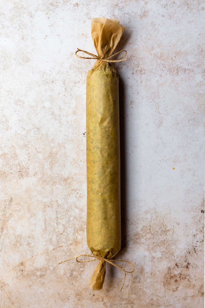 ramp butter rolled into a log, wrapped in parchment paper and tied with strings
