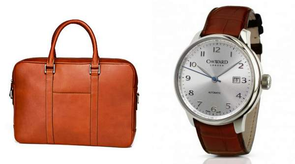 Left-to-right: Suit Supply's cognac slim leather bag and the Chris. Ward Harrison C9