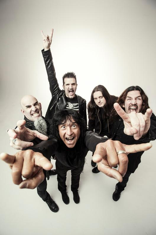 Clockwise from left: Scott Ian, Charlie Benante, Jon Donais, Frank Bello, Joey Belladonna Photo credit: Travis Shinn