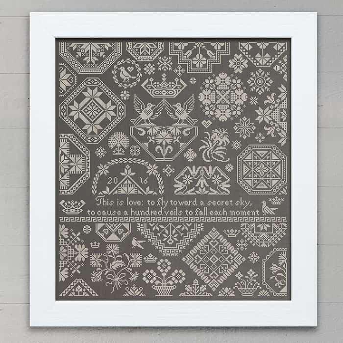 Quaker Sampler A Secret Sky - Original Cross Stitch Embroidery Pattern PDF Download Booklet