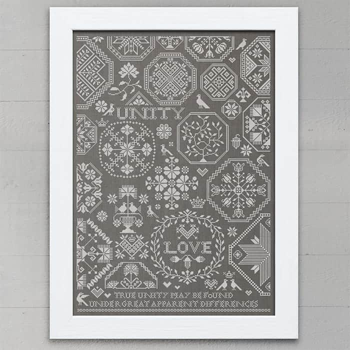 Love & Unity: A Quaker Sampler - original cross stitch embroidery pattern chart by Modern Folk Embroidery