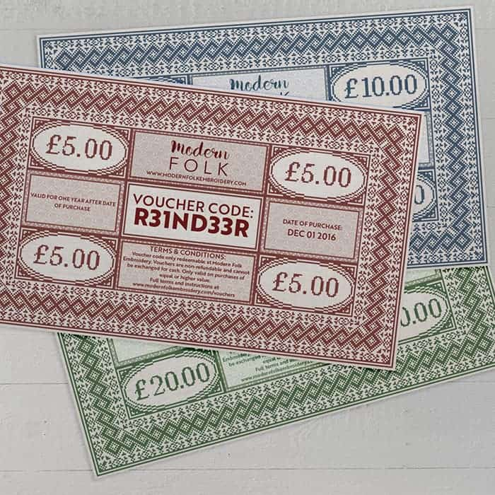 Gift Vouchers from Modern Folk Embroidery