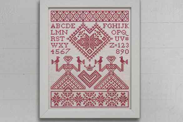 My Norwegian Valentine - An Alphabet Sampler. Original cross-stitch design by Modern Folk Embroidery, as featured in Cross-Stitch & Needlework Magazine