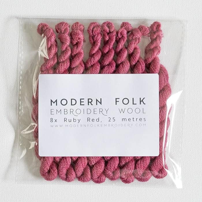 ruby red - 8-pack of Modern Folk Embroidery Wool
