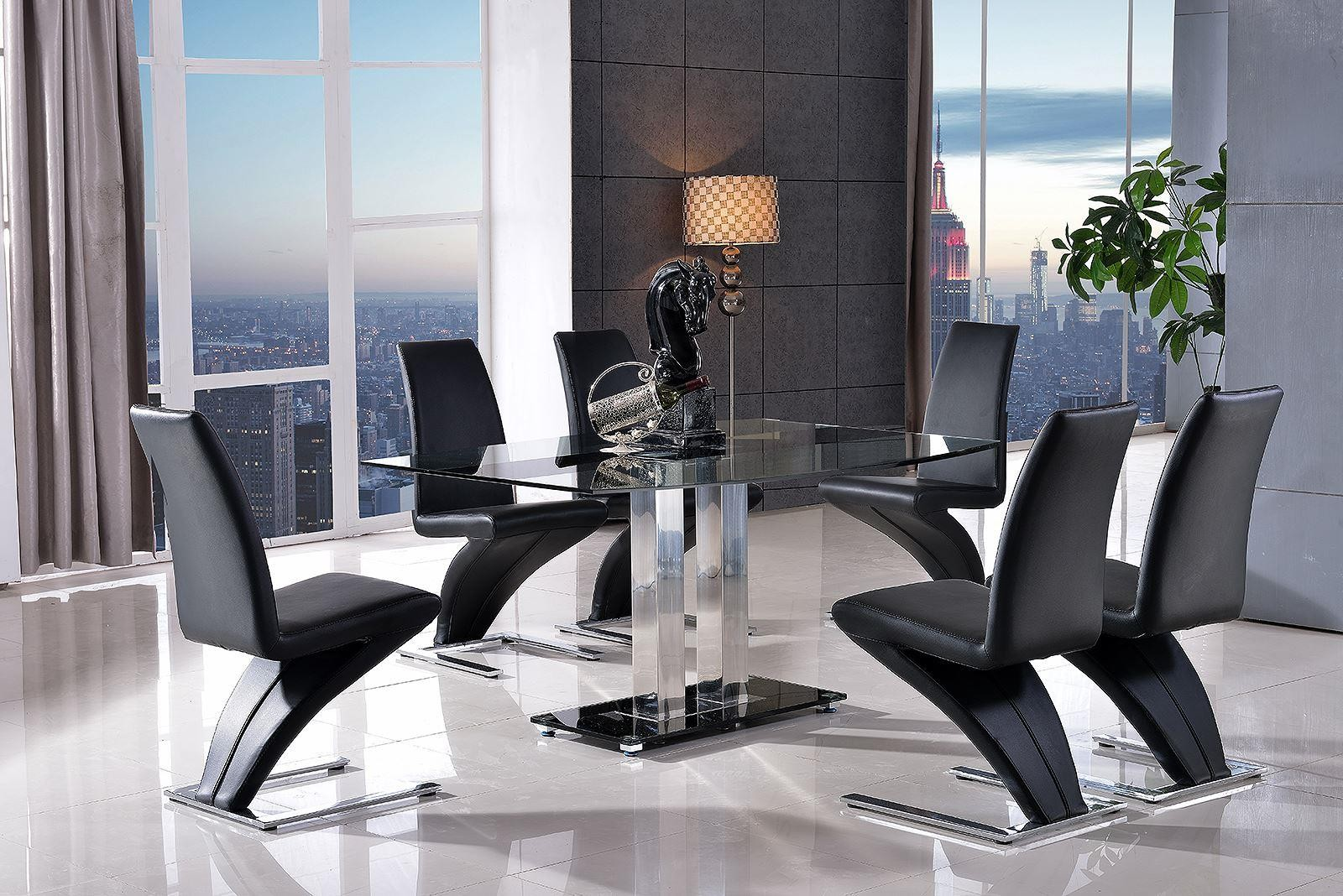 Roma Glass Dining Set With 4 Zed Chairs