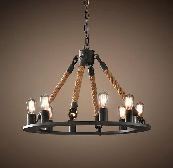 nostalgia industrial vintage lighting restaurant rustic wrought iron rope chandelier