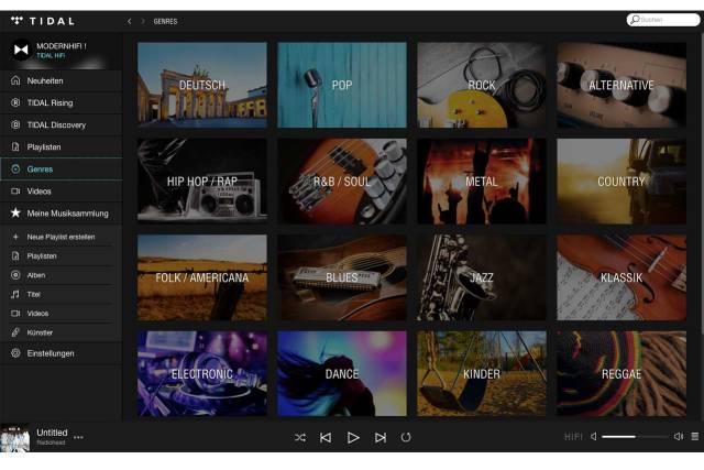 Setup-Menü der TIDAL Desktop App
