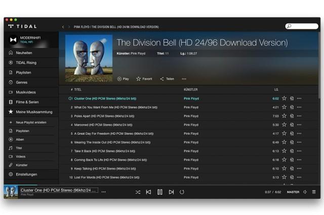 Tidal Masters MQA Musik Streaming-Dienst