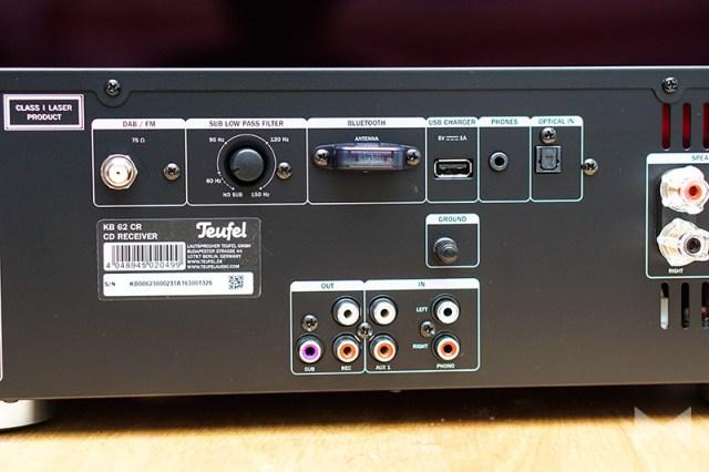 Teufel Kombo 62 Receiver Anschluesse am Stereo-Verstärker