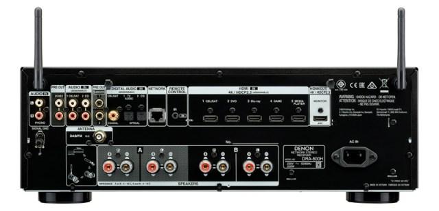 Denon DRA-800H Stereo-Receiver Anschlüsse auf der Rückseite inklusive 4K-HDMI