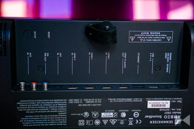 Sennheiser Ambeo Soundbar Anschlussfeld mit  HDMI-2.1-eARC