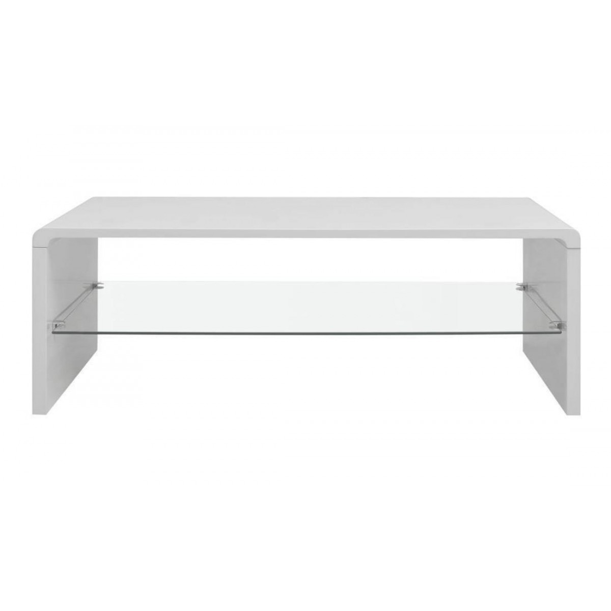 high gloss coffee table glass shelf white