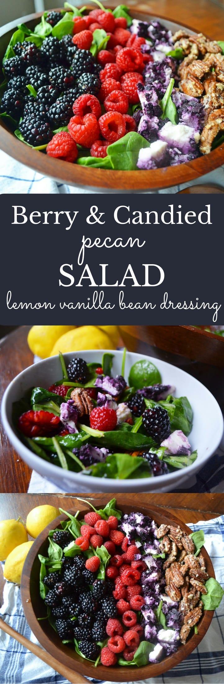 Berry Candied Pecan Salad with Lemon Vanilla Bean Dressing by Modern Honey -- www.modernhoney.com