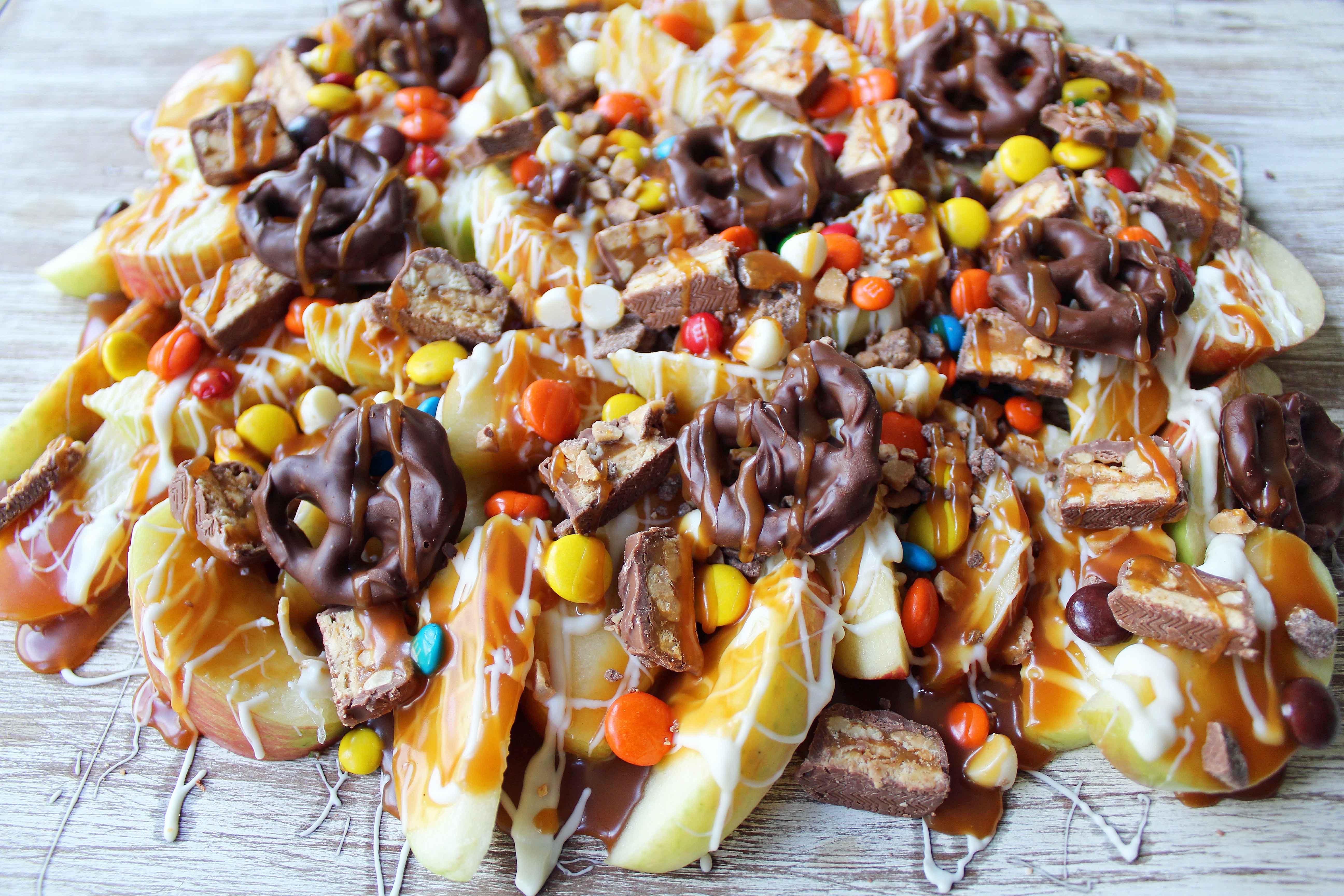 Candy Madness Caramel Apple Nachos   Modern Honey