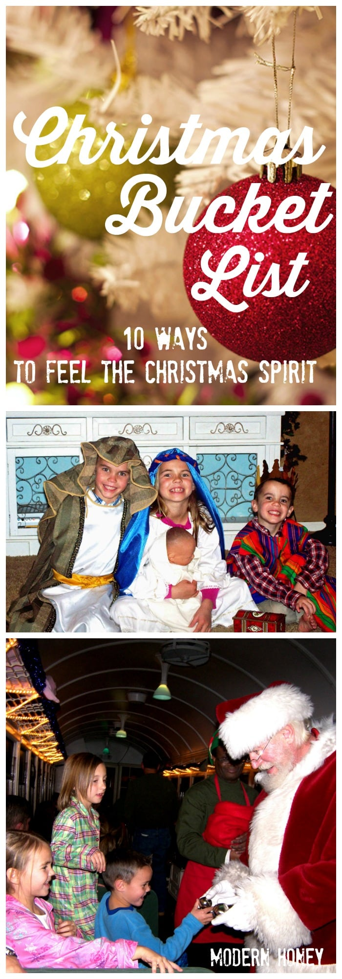 Christmas Bucket List. 10 Ways to Feel the Christmas Spirit. Ideas on how to make Christmas extra magical with kids and celebrate the true meaning of Christmas.