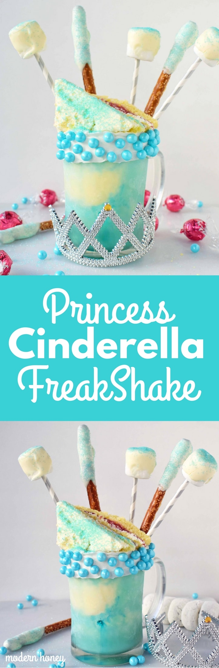 Princess Cinderella FreakShake inspired by the Disney Princess. A vanilla milkshake layered with Cinderella blue tinted ice cream and topped with birthday cake, white chocolate covered pretzels and marshmallows. Perfect for a Princess party or for a Disney lover. www.modernhoney.com