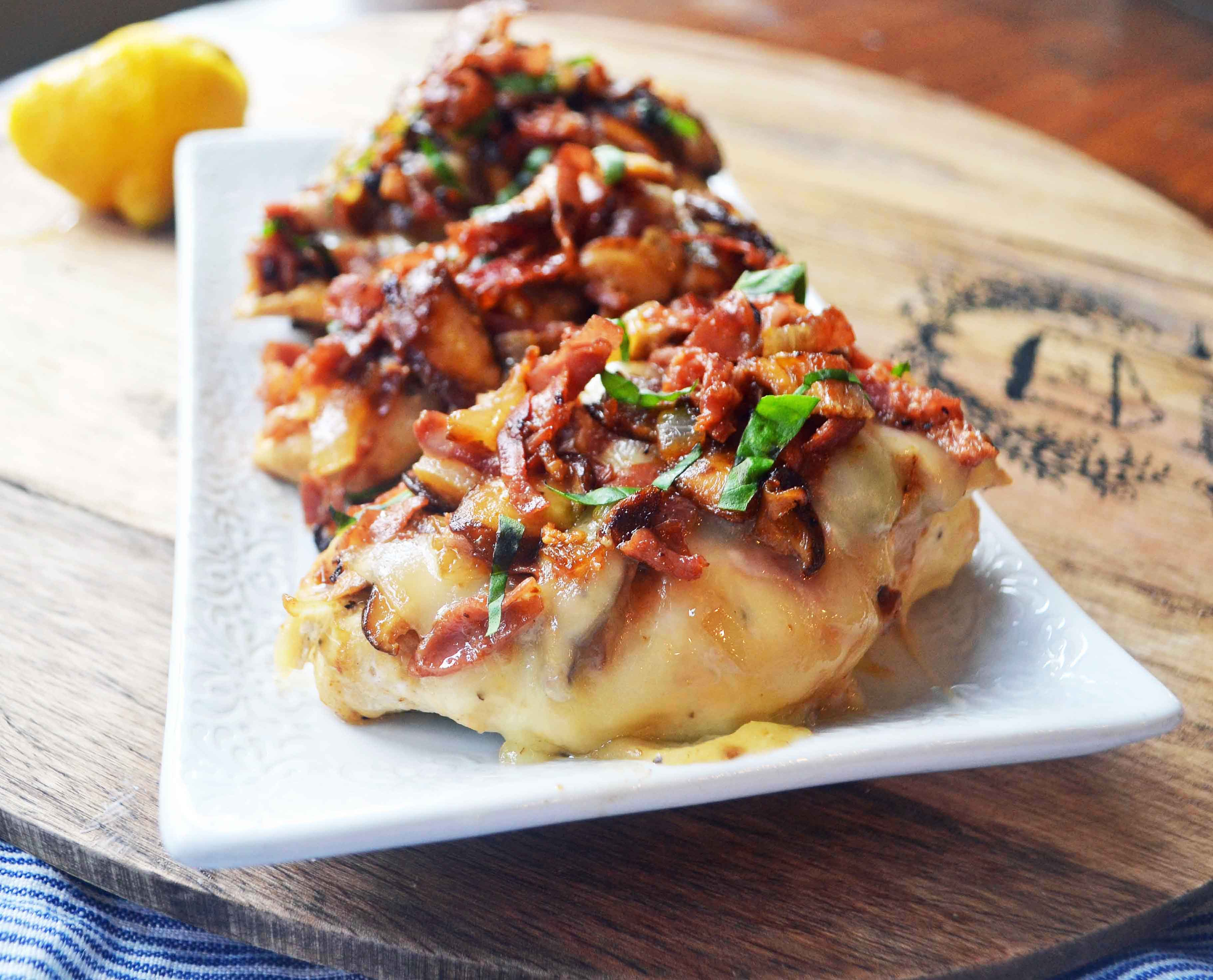 Chicken Rosa Maria by Modern Honey. Chicken breast sauteed with butter, onions, garlic, and mushrooms. Topped with crispy prosciutto and fontina cheese. A Carrabba's Pollo Rosa Maria copycat recipe. www.modernhoney.com