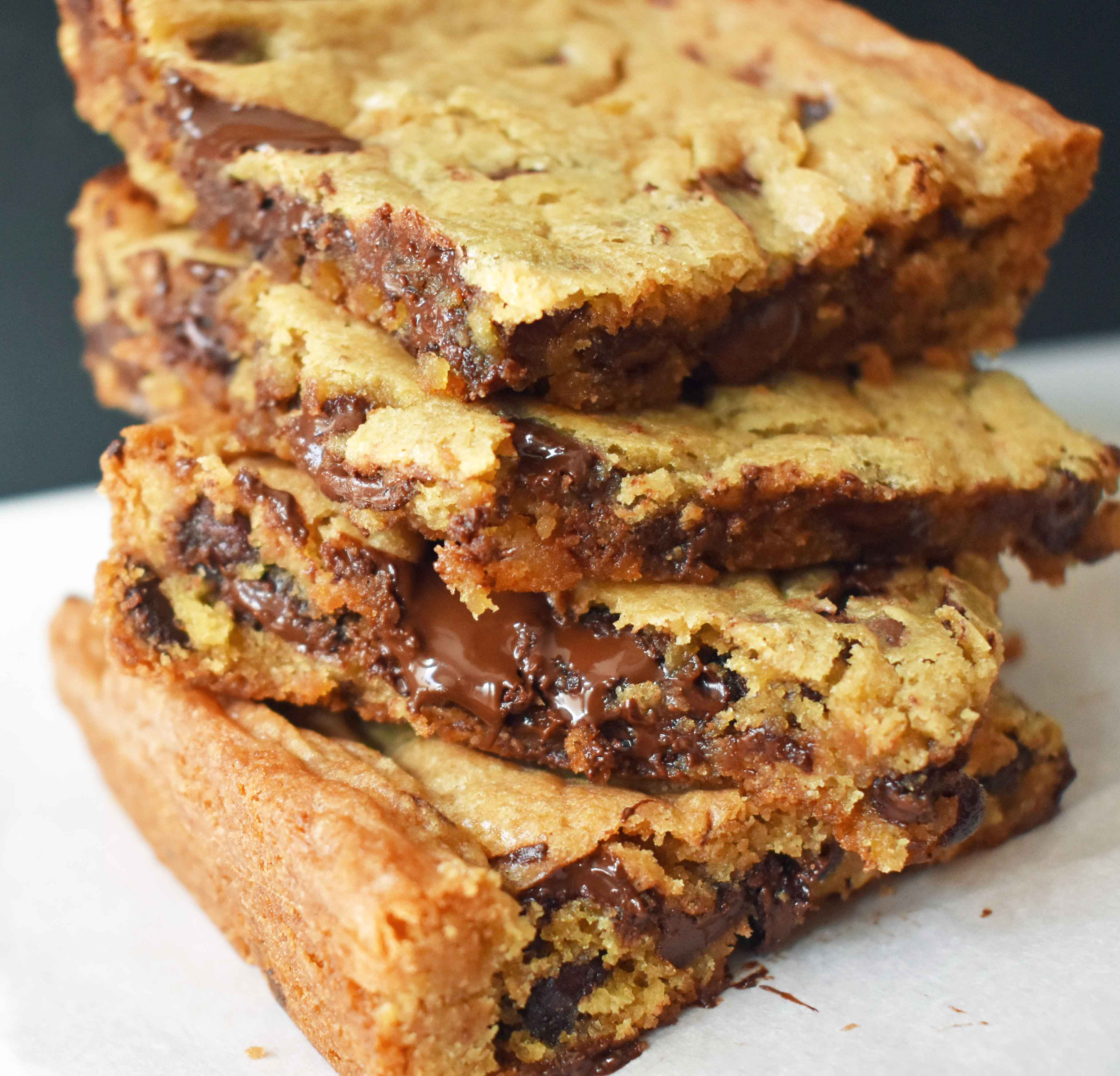 Chocolate Chip Cookie Bars. Classic buttery chocolate chip cookies in a bar. A favorite cookie bar recipe! www.modernhoney.com