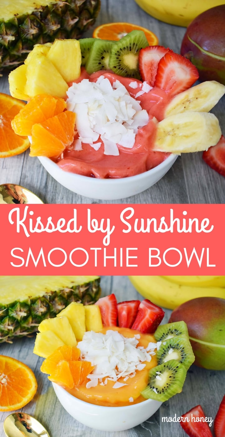 Kissed by Sunshine Smoothie Bowl made with frozen fruits, juice or coconut milk, and topped with fresh fruits, coconut shavings, and granola. A healthy and filling breakfast. www.modernhoney.com