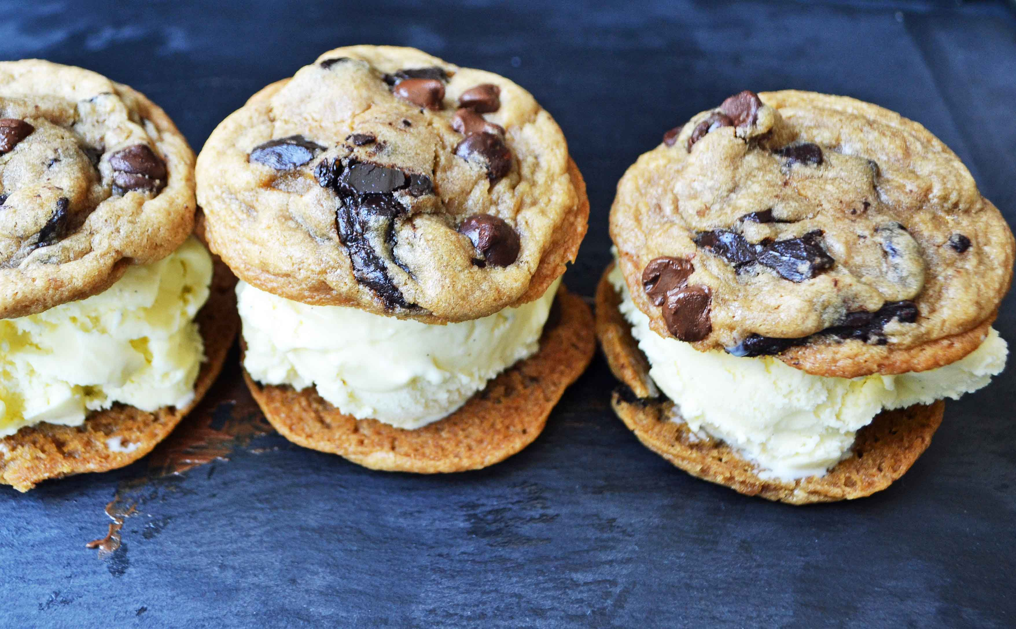 Chocolate Chip Cookie Ice Cream Sandwiches | Modern Honey