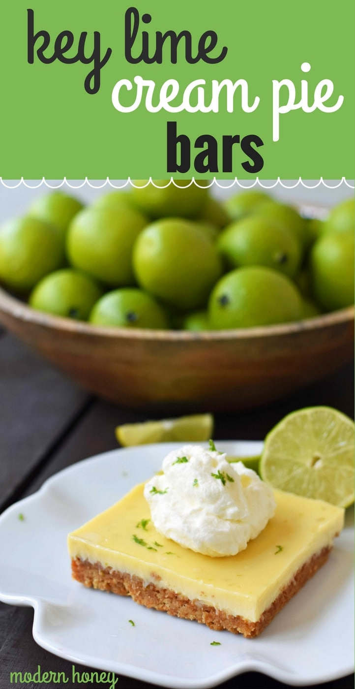 Key Lime Cream Pie Bars made with a buttery graham cracker crust and sweet, tart, and creamy key lime filling and topped with homemade whipped cream. A beautiful and delicious dessert bar recipe. www.modernhoney.com