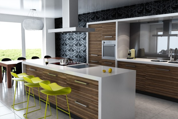 modern-kitchen-design-with-high-gloss-finish-white-granite-countertops-also-with-ceramic-flooring-plus-three-green-bar-stools-and-wooden-kitchen-cabinets-and-pendant-lamp