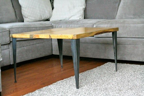 Matched Coffee Table End Table With Tapered Angle Iron